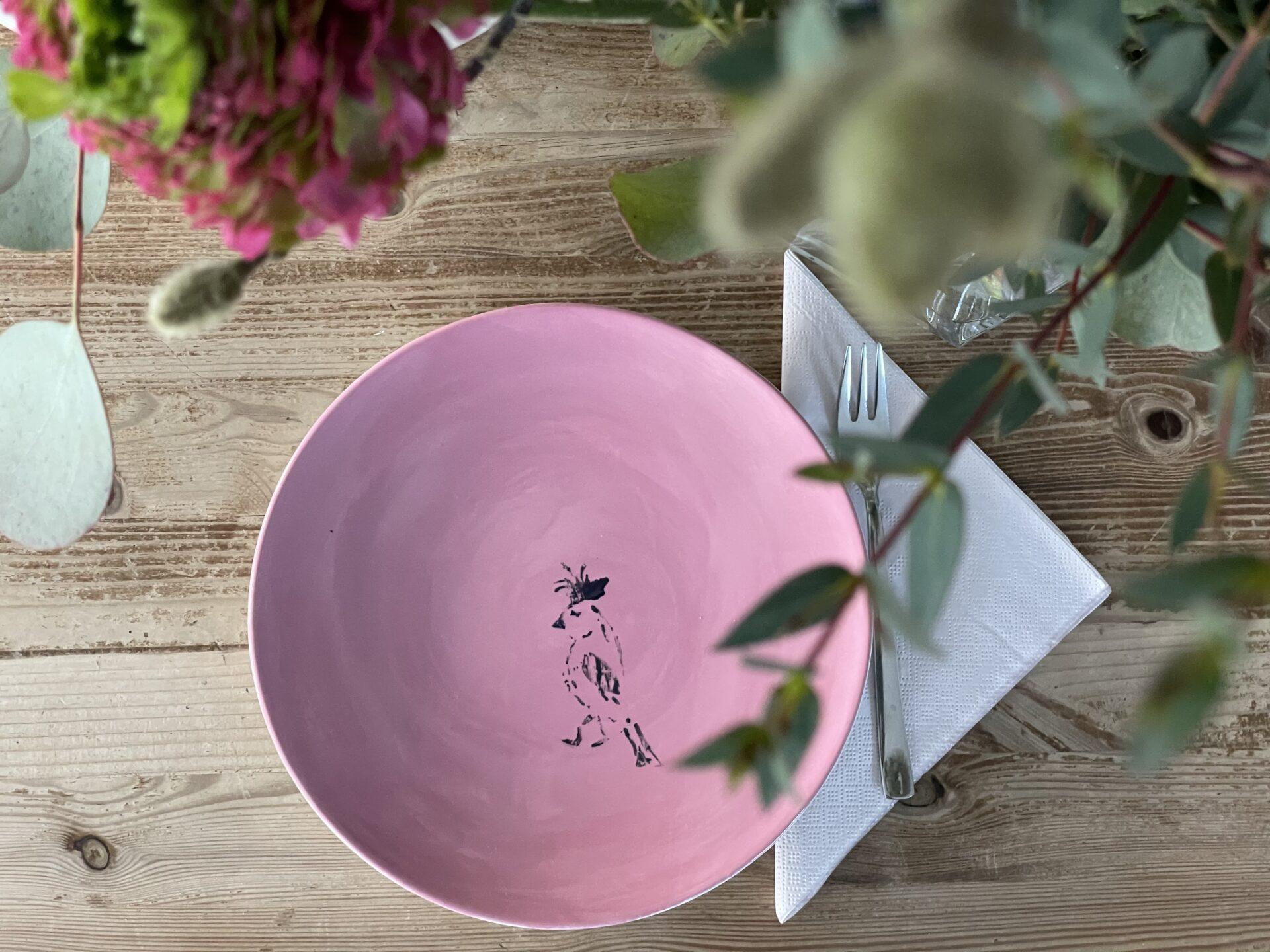 PimalDaumen Rosa Teller mit Vogel