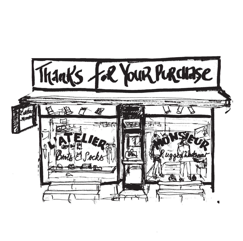 Zeichnung Shopfront L'atelier Monsieur