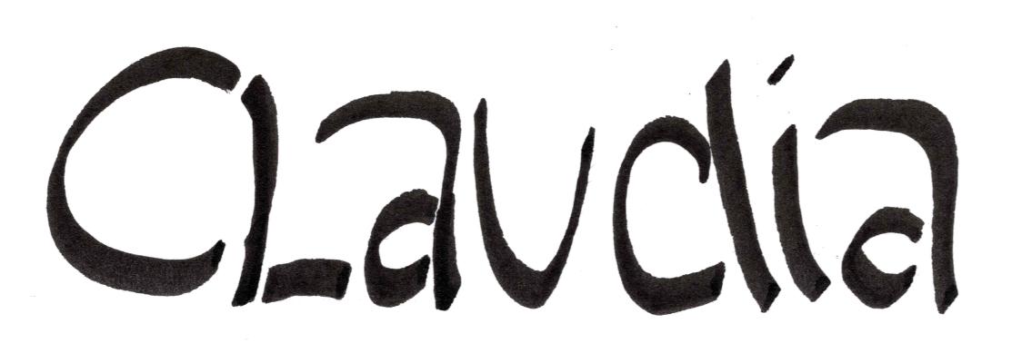 handgemalte Unterschrift Claudia